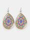 Vintage Glass Printed Women Earrings Geometric Flower Pendant Earrings Jewelry Gift - #02
