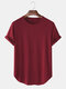 Mens Solid Color Breathable & Thin Loose Casual O-Neck T-Shirts - Red