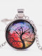 Vintage Gemstone Glass Printed Women Necklaces Landscape Tree Pendant Necklaces - #04