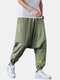 Mens Chinese Style Embroidered Cotton Drawstring Baggy Cuffed Pants - Green