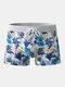 Men Print Swim Trunks America Flags Drawstring Letters Swimwear - Blue