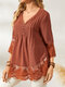 Casual Lace Patchwork Pleated Buttons 3/4 Sleeve Blouse for Women - Orange