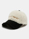 Women Letter Embroidery Pattern Contrast Color Warm Fashion Personality Sunvisor Baseball Hat - White 2#