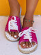 Large Size Women Comfy Lace Up Espadrilles Slippers - Rose