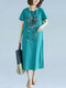 Ethnic Floral Print Plus Size Chinese Style Midi Dress - Blue