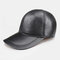 Men's Leather Hat First Layer Cowhide Casual Dome Duck Tongue Earmuffs Adjustable Big Brim Baseball Cap - #04