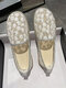 Women Casual Comfortable Floral Lace Shoes Breathable Pearl Round Toe Flats - White