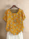 Floral Print Striped O-Neck Short Sleeve T-shirt - Yellow