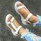 Tamanho grande feminino dedo aberto diariamente Soft sandálias rasteiras Gancho loop - Branco
