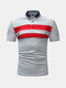 Mens Summer Breathable Striped Slim Fit Business Casual Golf Shirt - Gray