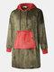 Men Fleece Hooded Colorblock Blanket Robes Contrast Heated Warm Oversied Blanket Hoodies with Pockets - Green