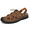 Men Outdoor Slip Resistant Soft Comfy Hand Stitching Beach Leather Sandals - Brown