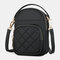 Women Solid Quilted Phone Bag Crossbody Bag - Black