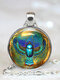 Vintage Ancient Egyptian Animal Women Necklace Alloy Glass Printed Pendant Sweater Chain - Silver