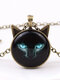 Vintage Printed Black Cat Women Necklace Cat Ear Glass Pendant Sweater Chain - Bronze