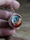 Double-Sided Glass Ball Women Necklace Universe Galaxy Nebula Pendant Necklace Jewelry - Silver
