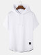 Mens Hooded Contrasting Colors Trim Short Sleeve Casual T-Shirt - White
