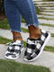 Plus Size Women Casual Plaid Sunflower Pattern Soft Comfy Flat Loafers - White