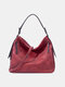 Retro Faux Leather Waterproof Large Capacity Crossbody Bag - Wine Red