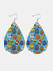 Easter Cute Colorful Bunny Print Leather Drop-shaped Earrings - 6