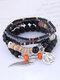 Vintage Multicolor Beads Multi-layer Bracelet Temperament Wing Pendant Bracelet - Black