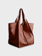 Women Vintage Oversized bag Soft PU Leather Every Day Bag Shopping Bag Slouchy Tote Handbag - Brown