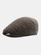Men Plaid Pattern Adjustable Casual Flat Hat Forward Hat Beret Hat - Khaki