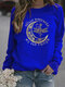 Moon Letter Printed Casual Long Sleeve T-Shirt For Women - Blue