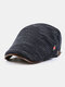 Men Woolen Autumn And Winter Knitting Contrast Color Warm Forward Hat Flat Hat - Blue