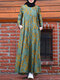 Women Ethnic Floral Print Pocket Patchwork Casual Maxi Dress - Green