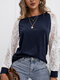 Lace Stitch Long Sleeve O-neck T-shirt for Women - Navy