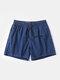 Men Quick Dry Shorts Drawstring Mesh Liner Solid Color Workout Beachwewar Swim Trunks - Deep Blue