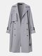Solid Color Button Knotted Lapel Collar Casual Coat For Women - Gray