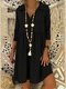 Solid Color 3/4 Sleeve Lapel Casual Dress For Women - Black