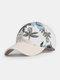 Women Cotton Beach Style Floral Pattern Outdoor Travel Sport Sunshade Baseball Hat - White