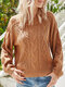 Round Neck Long Sleeve Knitting Pullover Chunky Sweater - Brown