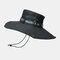 Mens Bucket Hat Outdoor Fishing Hat Climbing Mesh Breathable Sunshade Cap Oversized Brim With String - Black