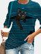 T-shirt manica lunga con stampa gatto nero O-collo a righe bianche Plus - blu