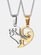 1 Pair Simple Key Splicing Couple Necklace Set Stainless Steel Heart Pendant Necklace Valentine's Day Gift - Gold