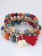 Vintage Multicolor Beads Multi-layer Bracelet Temperament Elephant Pendant Bracelet - Red