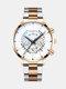 Business Men Watch Steel Band Waterproof Calendar Quartz Watch - White Dial Gold Silver Band