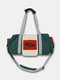 Vintage Nylon Letter Front Large Capacity  Handbag Crossbody Bag - Green