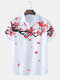 Mens Front And Back Plum Blossom Print Lapel Short Sleeve Shirts - White