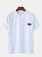 Mens Solid Color Cartoon Fruit Embroidered Light O-Neck T-Shirt - White