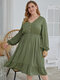 Casual Solid Color V-neck A-line Plus Size Dress - Green