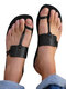 Plus Size Casual Beach Thumb Toe Flat Hausschuhe Für Damen - Schwarz