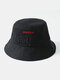 Unisex Cotton Bear Letter Pattern Embroidery Solid Color Cute Bucket Hat - Black