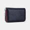 女性本革RIFD多機能12カードスロット写真カードマネークリップ財布財布小銭入れ - ブラック