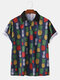 Mens Casual Pineapple Printed Short Sleeve Slim Fit Polo Shirts - As Picture