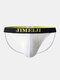 Mens Cotton Letter Waistband Low Waist Sexy Comfy Thin Home Thongs - White